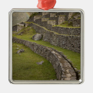 Rainbows over the agricultural terraces, Machu Silver-Colored Square Decoration