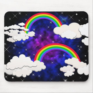 Rainbows, Stars and Clouds in a Night Sky Mousepads