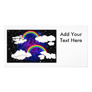 Rainbows, Stars and Clouds in a Night Sky Customized Photo Card