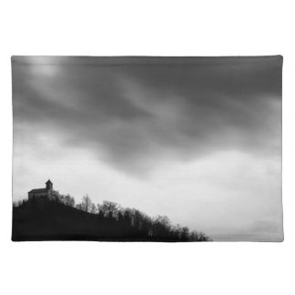 Rainclouds over church placemat