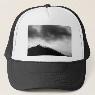 Rainclouds over church trucker hat