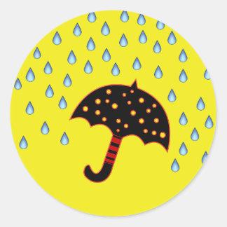 raindrops and umbrella envelope seals classic round sticker