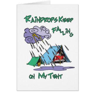 Raindrops Camping Greeting Cards