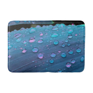 Raindrops Closeup, Spacey Blues Bath Mat