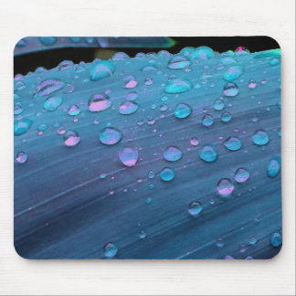 Raindrops Closeup, Spacey Blues Mouse Pad