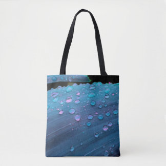 Raindrops Closeup, Spacey Blues Tote Bag