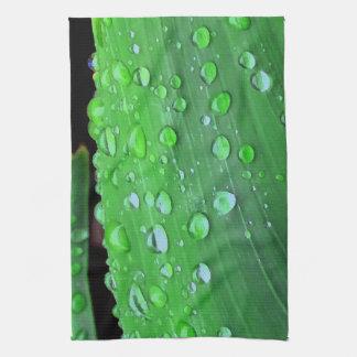 Raindrops Closeup, Spacey Green Tea Towel