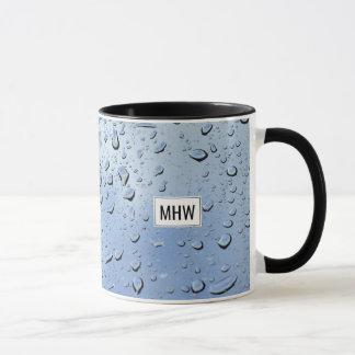 """""""Raindrops"""" custom monogram mugs"""