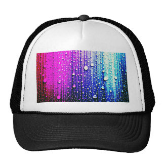 Raindrops on a  chakra color ful abstract painted trucker hat