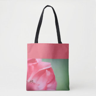 Raindrops on a rose tote bag
