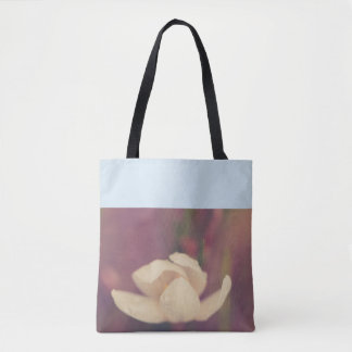 Raindrops on a white flower tote bag