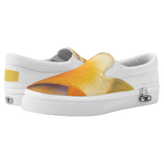 Raindrops on a yellow winter flower printed shoes