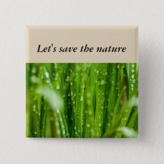 Raindrops on blades of grass 15 cm square badge