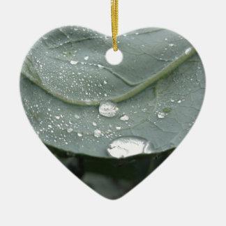 Raindrops on cauliflower leaves ceramic heart decoration