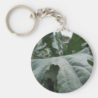 Raindrops on cauliflower leaves key ring