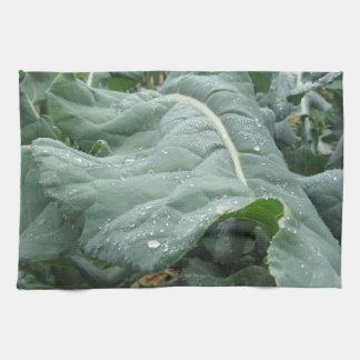 Raindrops on cauliflower leaves tea towel
