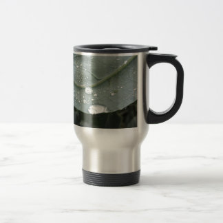 Raindrops on cauliflower leaves travel mug
