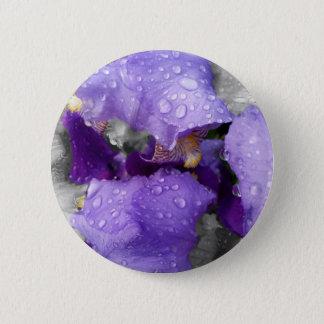 raindrops on iris 6 cm round badge