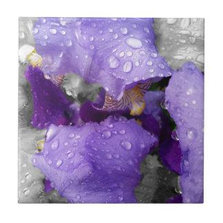 raindrops on iris ceramic tile