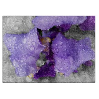 raindrops on iris cutting board