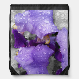 raindrops on iris drawstring bag