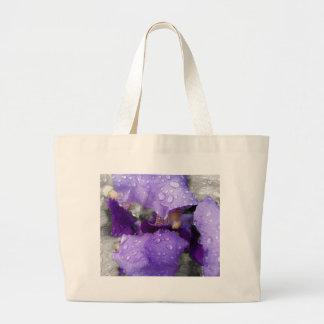 raindrops on iris large tote bag