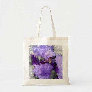 raindrops on iris tote bag