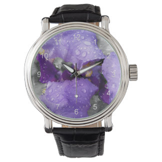 raindrops on iris watch