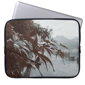 Raindrops on maple and bamboo laptop sleeve