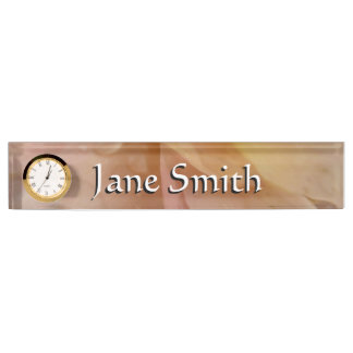 Raindrops on Rose Petals Pink Abstract Floral Desk Nameplate