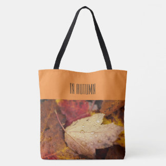 Raindrops on the October leaf Tote Bag