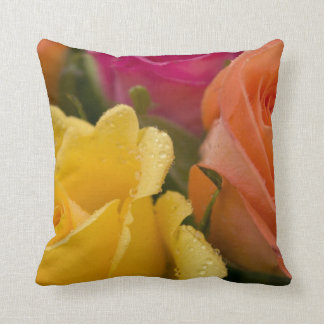 Raindrops on Yellow Orange and Pink Roses Cushion