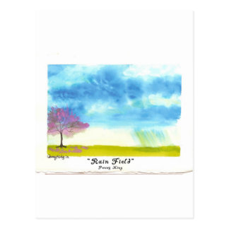 RainField Original Watercolor Painting Postcard