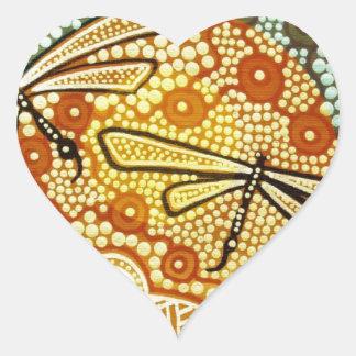 Rainforest Dragonflies Heart Sticker