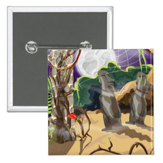 Rainforest Hidden Temple illustration. 15 Cm Square Badge