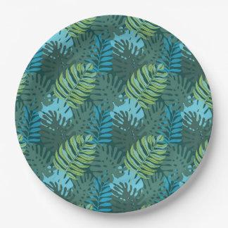 Rainforest Jungle Leaf Pattern 9 Inch Paper Plate