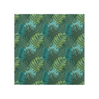 Rainforest Jungle Leaf Pattern Wood Print