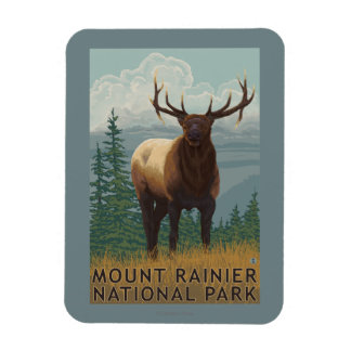 Rainier National Park, WashingtonElk Scene Magnet
