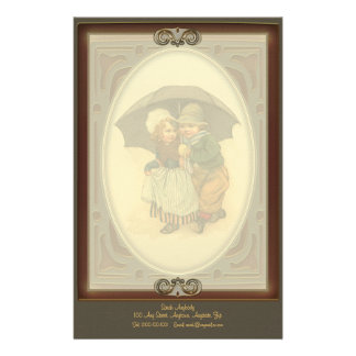 Raining Again Vintage Illustration Letterhead Customised Stationery