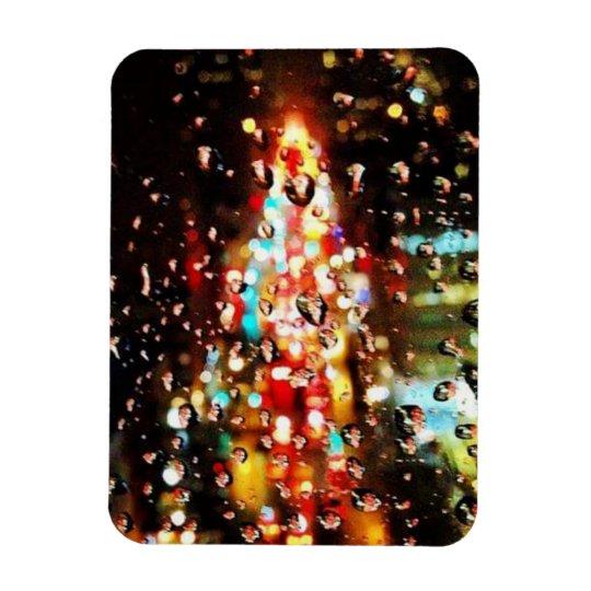 Raining City Lights Holiday Magnet