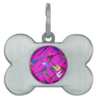 Raining Guitars Pet Tag