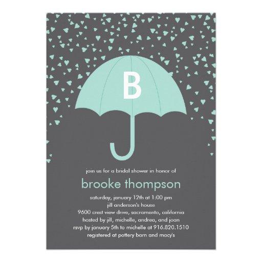 Raining Love Bridal Shower Invitation (Blue)