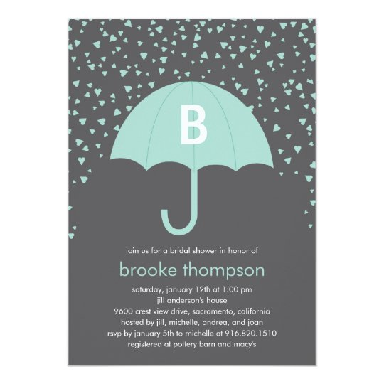 Raining Love Bridal Shower Invitation (Blue)