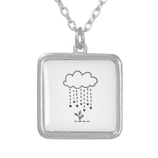 Raining love silver plated necklace