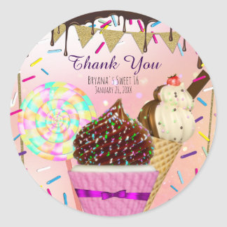 Raining Sprinkles Candy Land Sweets Party Favor Round Sticker