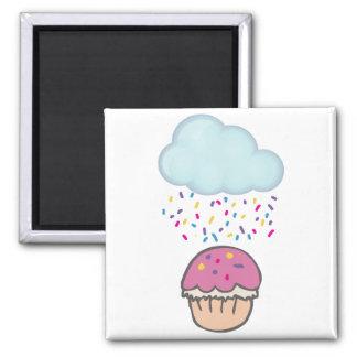 Raining Sprinkles on Cupcake Refrigerator Magnet