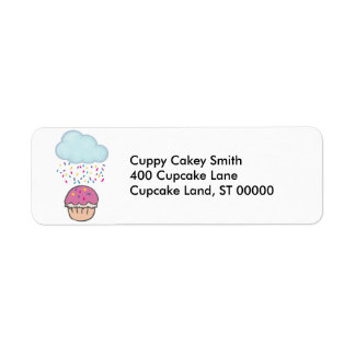 Raining Sprinkles on Cupcake Return Address Label