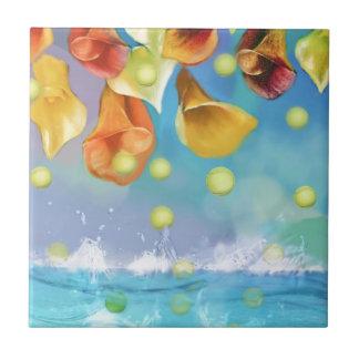 Raining tennis balls over the sea. ceramic tile