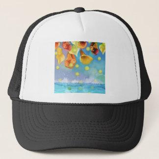 Raining tennis balls over the sea. trucker hat