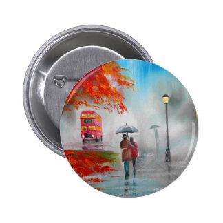 Rainy day autumn red bus umbrella painting pins